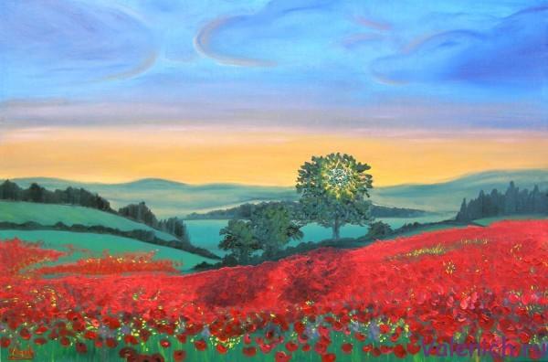Маковое поле на закате 2014. Картина маслом на холсте.