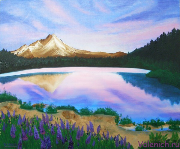 Закат в горном озере (2014). Картина маслом на холсте.
