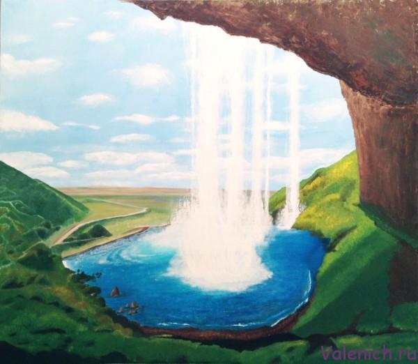 Водопад. Картина маслом на холсте.