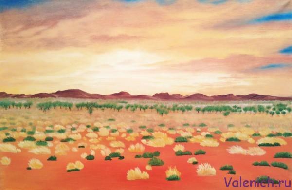 Картина маслом на холсте «Закат в пустыне»